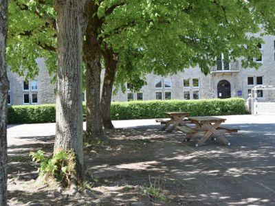 Sur la cour centrale, à l'ombre des tilleuls